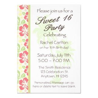 Hawaiian Luau Sweet 16 Birthday Party Invitation