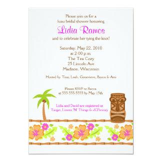 "Hawaiian Luau Tropical 5x7 Bridal Shower Invite 5"" X 7"" Invitation Card"