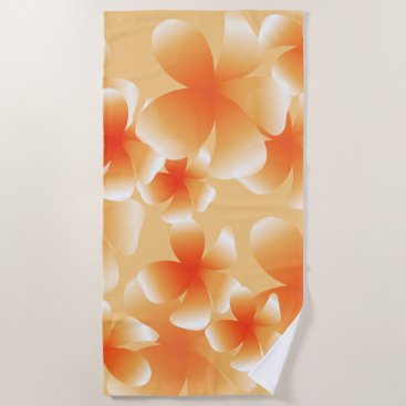 Beach Themed Hawaiian Luau Tropical Floral Peach Beach T Beach Towel