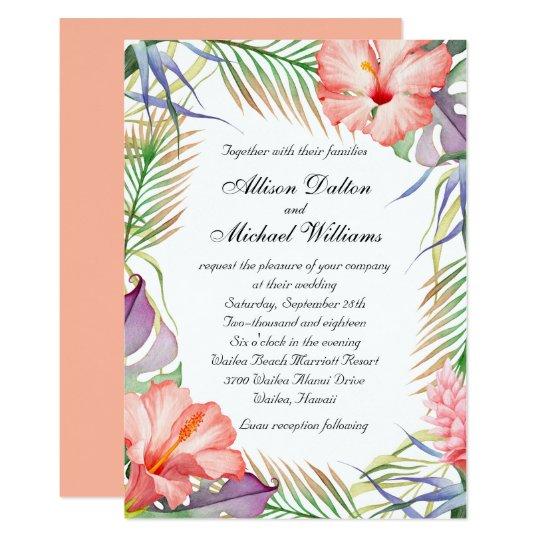 Tropical Wedding Invitations: Hawaiian Luau Tropical Floral Wedding Card