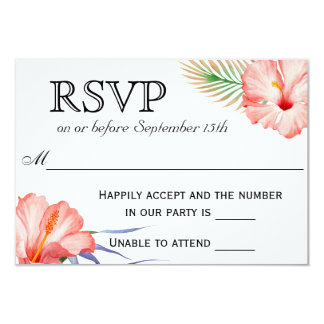 Hawaiian Luau Tropical Floral Wedding RSVP Card