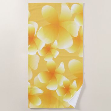 Hawaiian Themed Hawaiian Luau Tropical Floral Yellow Beach T Beach Towel