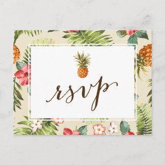 Hawaiian Luau Tropical Leaves Pineapple RSVP Invitation Postcard