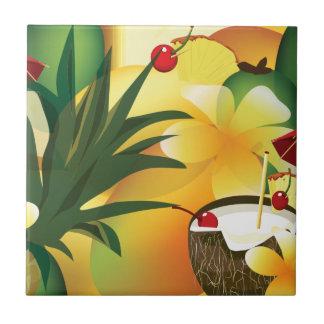 Hawaiian Luau Tropical Tiki Bar Small Tile