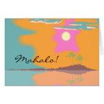 Hawaiian Mahalo Thank You Card Palm Trees Islands