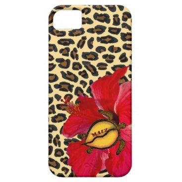 Hawaiian Themed Hawaiian Maui Honu and Golden Leopard Print iPhone SE/5/5s Case