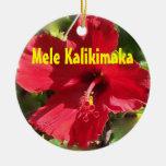 Hawaiian Mele Kalikimaka Double-Sided Ceramic Round Christmas Ornament