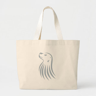 Hawaiian Monk Seal in Swish Drawing Style Canvas Bags