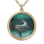 Hawaiian Monk Seal Round Pendant Necklace