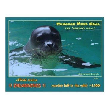 Hawaiian Themed Hawaiian monk seals are facing extinction = postcard