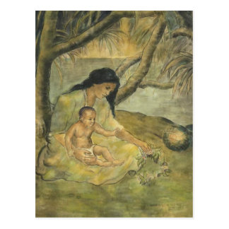 Hawaiian Mother and Child - Charles W. Bartlett Postcard