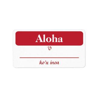 Hawaiian My Name Is...Tags Label