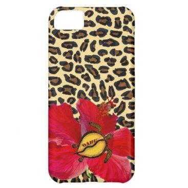 Hawaiian Themed Hawaiian Oahu Honu and Golden Leopard Print iPhone 5C Cover