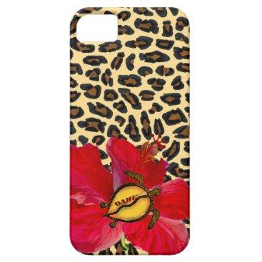 Hawaiian Themed Hawaiian Oahu Honu and Golden Leopard Print iPhone SE/5/5s Case