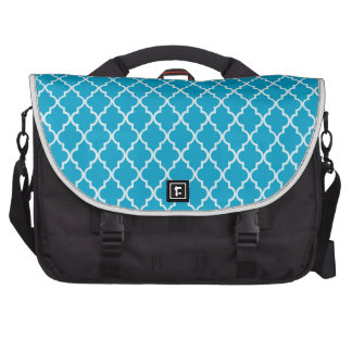Hawaiian Ocean Blue And White Moroccan Trellis Bags For Laptop