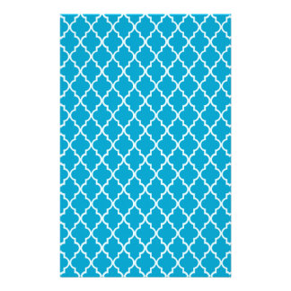 Hawaiian Ocean Blue And White Moroccan Trellis Stationery Paper