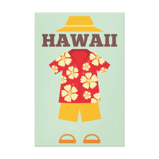 Hawaiian Outfit Hat shirt Shorts Slippers Canvas Print