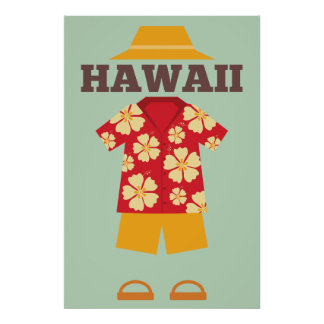Hawaiian Outfit Hat shirt Shorts Slippers Poster