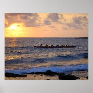 Hawaiian Outrigger Canoe at Sunset 20 x 16 Poster
