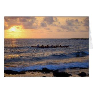 Hawaiian Outrigger Canoe at Sunset Card