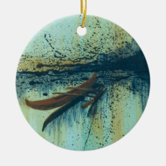 Hawaiian Outrigger in Storm Double-Sided Ceramic Round Christmas Ornament