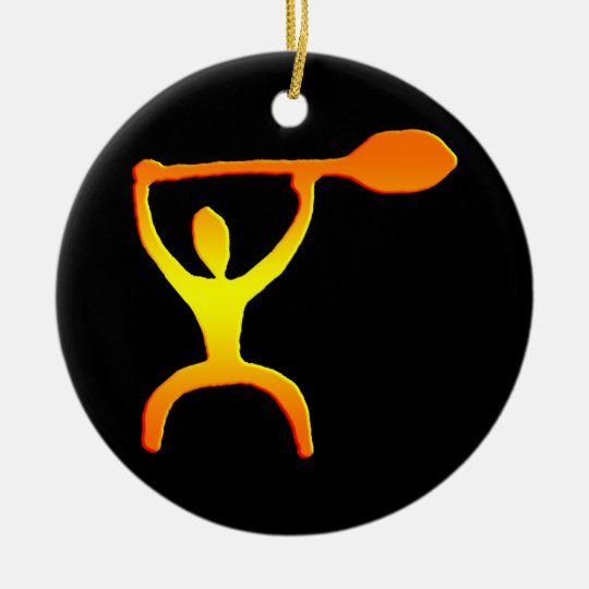 Hawaiian Paddle Man Petroglyph - Ornament