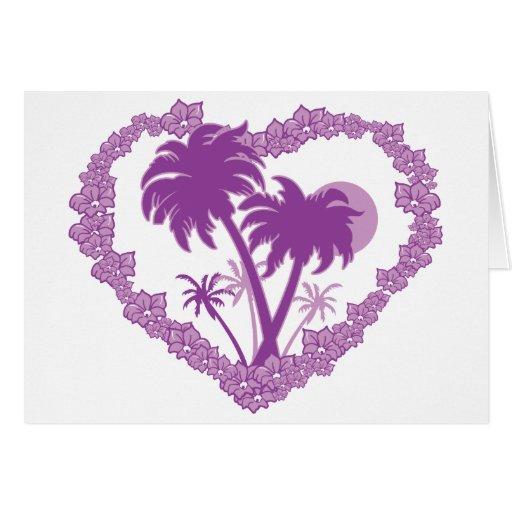 Hawaiian Palm Tree Valentine Heart Greeting Card