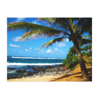 Hawaiian Palm Tree Wrapped Canvas Canvas Print