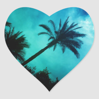 Hawaiian Palm Trees Heart Sticker