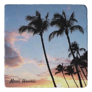 Hawaiian Themed Hawaiian Palm Trees Stone Trivet