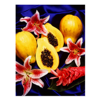 Hawaiian papayas with lilies & red ginger flowers postcard