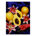 Hawaiian papayas with lilies & red ginger flowers print