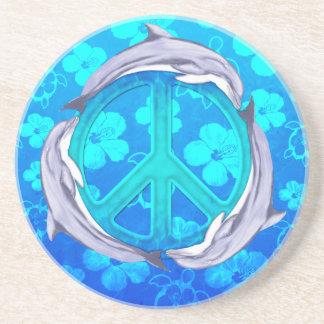 Hawaiian Peace Dolphins Sandstone Coaster