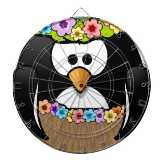 Hawaiian Penguin With flowers and grass skirt Dartboard With Darts