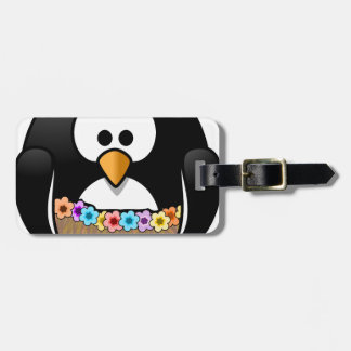 Hawaiian Penguin With flowers and grass skirt Luggage Tag