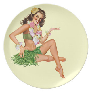 Hawaiian pin-up girl vintage poster melamine plate
