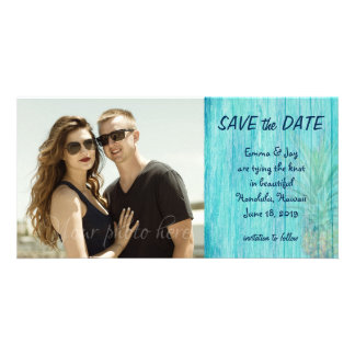 Hawaiian Pineapple Aqua Boards Save the Date Photo Card