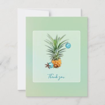 Hawaiian Pineapple Christmas Thank You Flat Note Holiday Card
