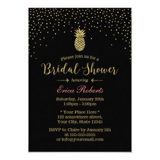 Hawaiian Pineapple Modern Confetti Bridal Shower Card
