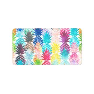 Hawaiian Pineapple Pattern Tropical Watercolor Address Label