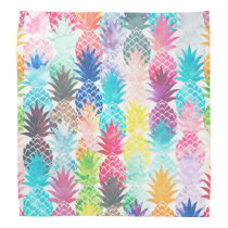 Hawaiian Pineapple Pattern Tropical Watercolor Bandana