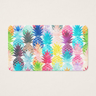 Hawaiian Pineapple Pattern Tropical Watercolor Business Card