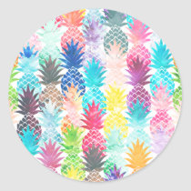 Hawaiian Pineapple Pattern Tropical Watercolor Classic Round Sticker