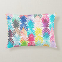 Hawaiian Pineapple Pattern Tropical Watercolor Decorative Pillow