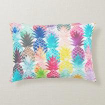 Hawaiian Pineapple Pattern Tropical Watercolor Decorative Pillow