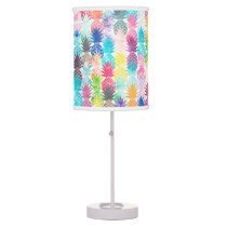 Hawaiian Pineapple Pattern Tropical Watercolor Desk Lamp