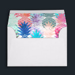 """Hawaiian Pineapple Pattern Tropical Watercolor Envelope<br><div class=""""desc"""">Whimsical Watercolor pineapple pattern,  modern trendy,  abstract multicolor pineapples fruit design featuring bright and colorful Hawaiian pineapple with artistic and abstract pastel tropical pink,  yellow,  blue,  red colors on a white background. Celebrate summer with this fresh and psychedelic fruit pattern</div>"""