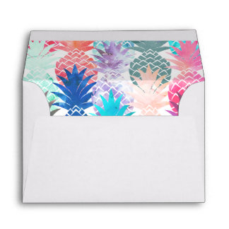 Hawaiian Pineapple Pattern Tropical Watercolor Envelope