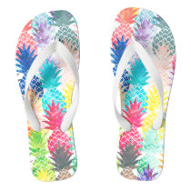 Hawaiian Pineapple Pattern Tropical Watercolor Flip Flops