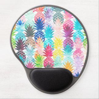 Hawaiian Pineapple Pattern Tropical Watercolor Gel Mouse Pad